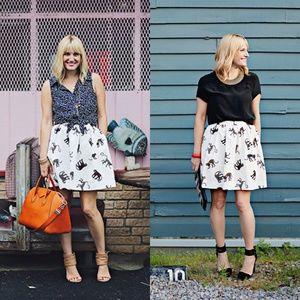 MSGM Panther Print Skirt Flare  Full Monkey Pocket
